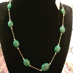 Jewelry - 14K Gold Chain w/ Genuine Stone Emerald Necklace